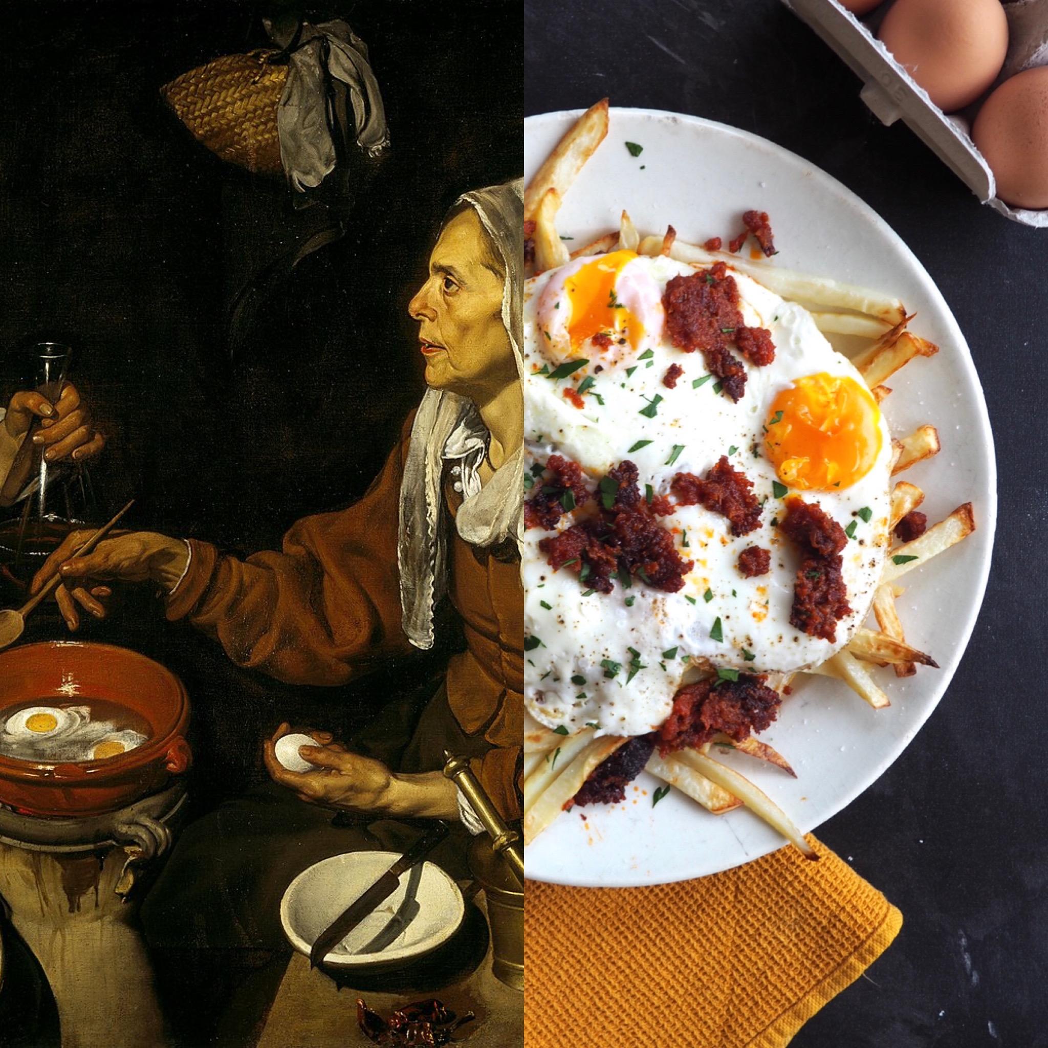 Diego Velázquez I: Vieja friendo huevos y los huevos rotos saludables a la mallorquina (esp)