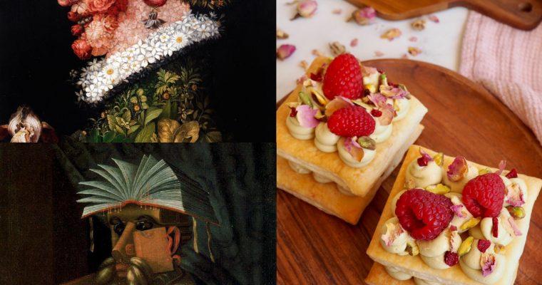 Arcimboldo (II): Retratos, libros, rosas y el milhojas con pistachos (ESP)