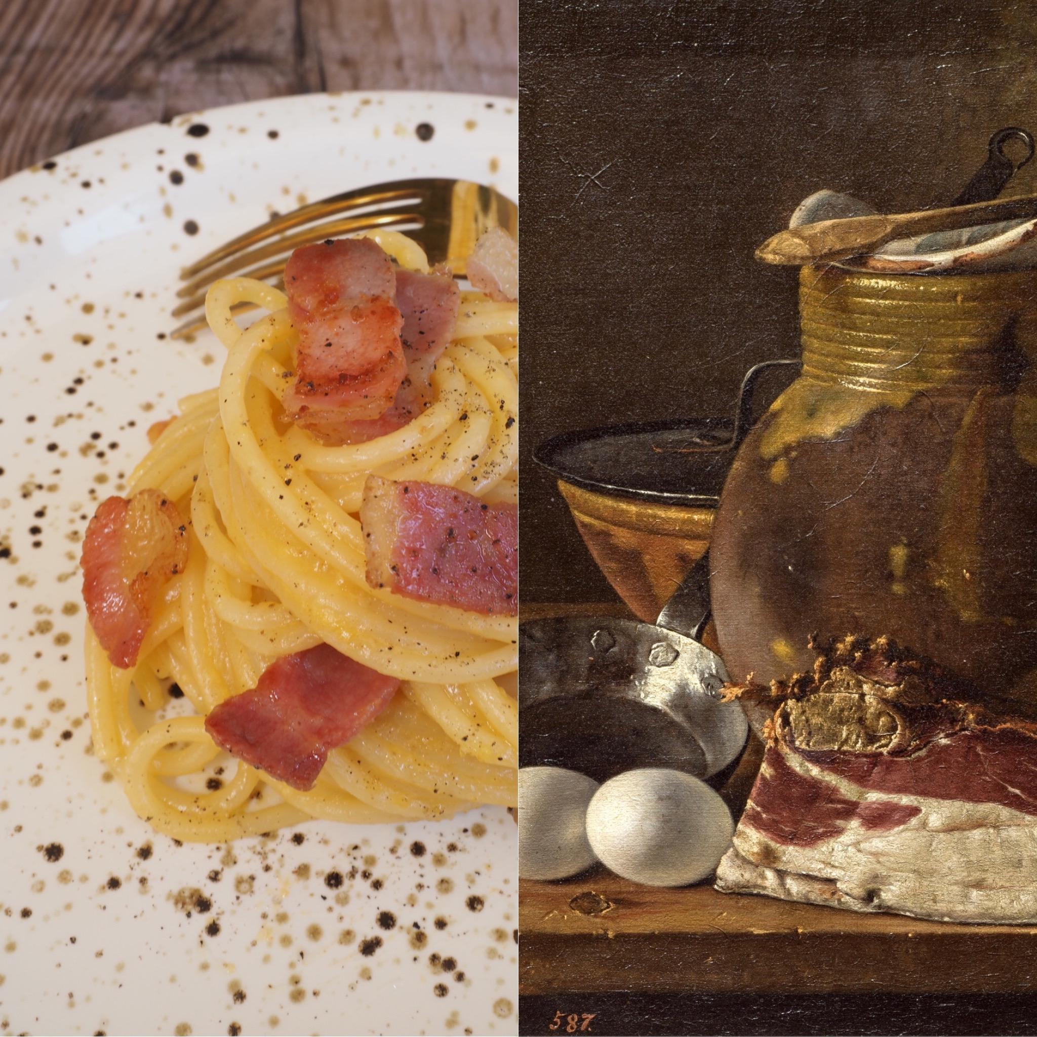 Luis Egidio Meléndez, bodegón con jamón y huevos, y la pasta carbonara (ESP)